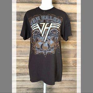Van Halen brown band Rock and Roll tee